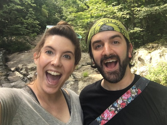 Excited face at White Oak Canyon Falls