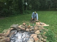 Parker processing some wood for a fire later that evening.