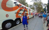 Outside the Tour bus!